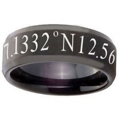 COI Black Titanium Custom Coordinate Beveled Edges Ring - 2791