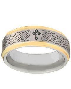 COI Tungsten Carbide Gold Tone Silver Celtic Cross Ring-TG2895BB