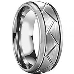 COI Tungsten Carbide Tire Tread Double Grooves Ring - TG2958