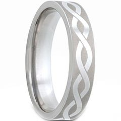 COI Tungsten Carbide Infinity Pipe Cut Flat Ring - TG2978