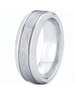 COI Titanium Double Grooves Sandblasted Ring - JT2996AA