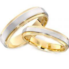 COI Tungsten Carbide Gold Tone Silver Step Edges Ring - TG3032