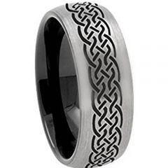 COI Tungsten Carbide Black Silver Celtic Dome Court Ring-TG3072A