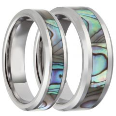 COI Titanium Beveled Edges Ring With Abalone Shell - JT3089