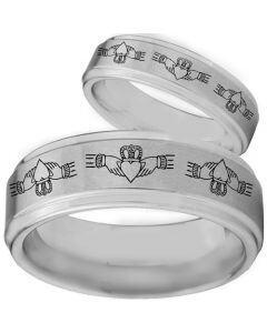 COI Tungsten Carbide Mo Anam Cara Step Edges Ring-TG3105