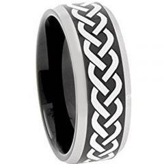 COI Tungsten Carbide Celtic Beveled Edges Ring - TG3109AA