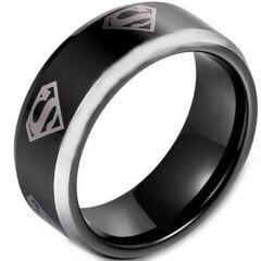 COI Titanium Black Silver SuperMan Beveled Edges Ring - JT3161