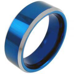 COI Tungsten Carbide Blue Silver Beveled Edges Ring - TG3809