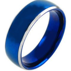 COI Tungsten Carbide Blue Silver Beveled Edges Ring - TG3810