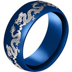 COI Blue Tungsten Carbide Dragon Dome Court Ring-3183