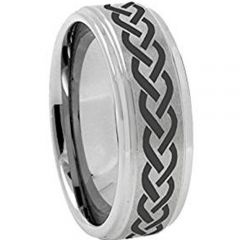 COI Tungsten Carbide Celtic Step Edges Ring - 3199
