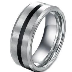 COI Tungsten Carbide Black Silver Center Line Ring-3218