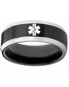 COI Tungsten Carbide Medic Alert Beveled Edges Ring-TG5137