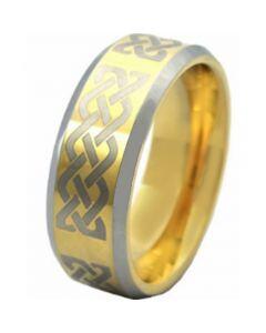 COI Tungsten Carbide Gold Tone Silver Celtic Ring - TG3254AA