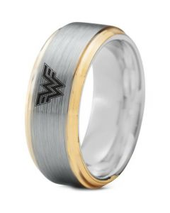 *COI Tungsten Carbide Gold Tone Silver Wonder Woman Ring-TG3233