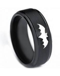 *COI Black Tungsten Carbide Batman Step Edges Ring-TG3264