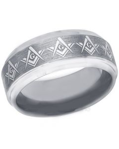 COI Tungsten Carbide Masonic Step Edges Ring-3271