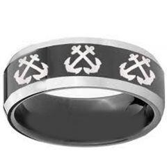 COI Titanium Black Silver Anchor Beveled Edges Ring - 3331
