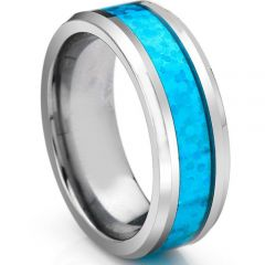 COI Tungsten Carbide Beveled Edges Ring With Crushed Opal - TG3336