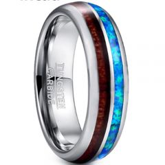 COI Tungsten Carbide Wood & Crushed Opal Dome Court Ring - TG3362