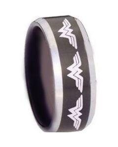 *COI Tungsten Carbide Wonder Woman Beveled Edges Ring-TG3379