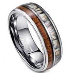 COI Tungsten Carbide Camo & Wood Dome Court Ring - TG3395