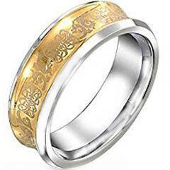 COI Tungsten Carbide Gold Tone Silver Dragon Concave Ring-4205