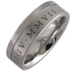 COI Titanium Offset Groove Ring With Roman Numerals - JT803A