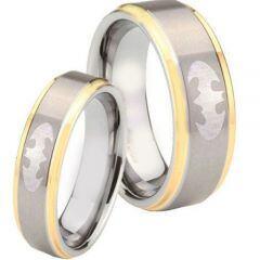 COI Titanium Gold Tone Silver BatMan Step Edges Ring - JT3475