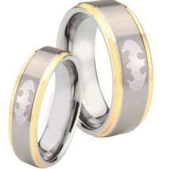 COI Tungsten Carbide Gold Tone Silver Batman Ring - TG4277