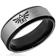 COI Tungsten Carbide Legend of Zelda Beveled Edges Ring-3477