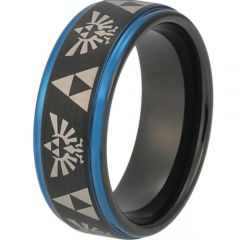 COI Titanium Black Blue Legend of Zelda Step Edges Ring-3483