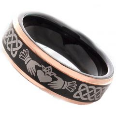 COI Titanium Black Rose Mo Anam Cara Step Edges Ring-JT3491