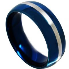COI Tungsten Carbide Blue Silver Dome Court Ring - TG4367