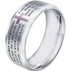 COI Tungsten Carbide Cross Prayer Beveled Edges Ring-3599