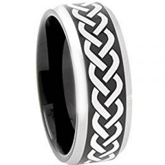 COI Titanium Black Silver Celtic Beveled Edges Ring - JT3600