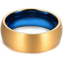 *COI Titanium Blue Gold Tone Dome Court Ring - JT3613
