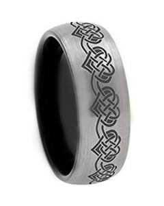 *COI Tungsten Carbide Black Silver Dome Court Heart Ring-TG3640