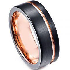 *COI Titanium Black Rose Offset Groove Ring - JT3631