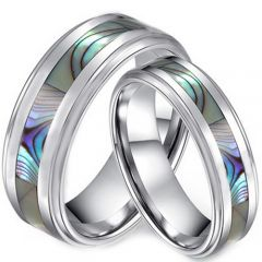 COI Titanium Step Edges Ring With Abalone Shell-JT3635