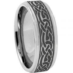 COI Tungsten Carbide Celtic Step Edges Ring - TG3639AA