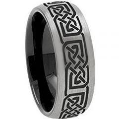 COI Tungsten Carbide Black Silver Celtic Dome Court Ring-TG3648