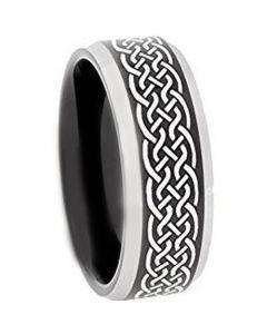 COI Tungsten Carbide Celtic Beveled Edges Ring - TG3651A