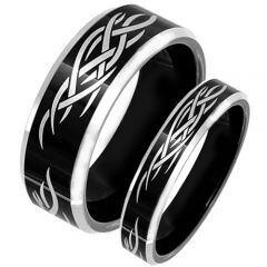 COI Tungsten Carbide Black Silver Celtic Ring - TG3664
