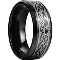 COI Black Titanium Mo Anam Cara Beveled Edges Ring - JT3665
