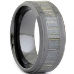 COI Black Tungsten Carbide Wood Step Edges Ring - TG3668