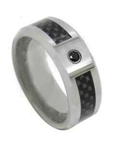 COI Titanium Carbon Fiber Ring With Black Cubic Zirconia-JT3856