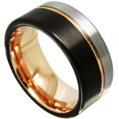 COI Titanium Black Rose Offset Groove Pipe Cut Ring - JT3713