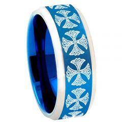 COI Tungsten Carbide Blue Silver Cross Ring - TG3783AA