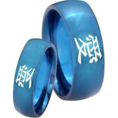 COI Blue Tungsten Carbide Dome Court Ring With Kanji Love-TG3786